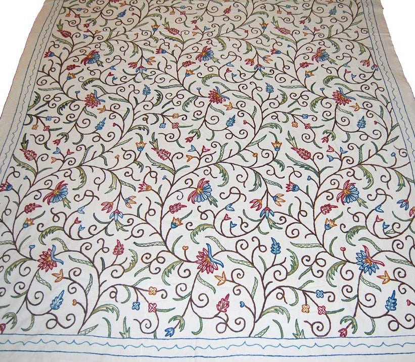 Cotton Crewel Embroidered Bedspread Off-White, Multicolor #SNL1161