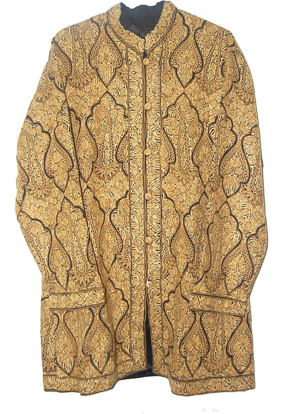 "Embroidered Woolen ""Jamawar"" Coat Black, Olive Embroidery #JM-191"