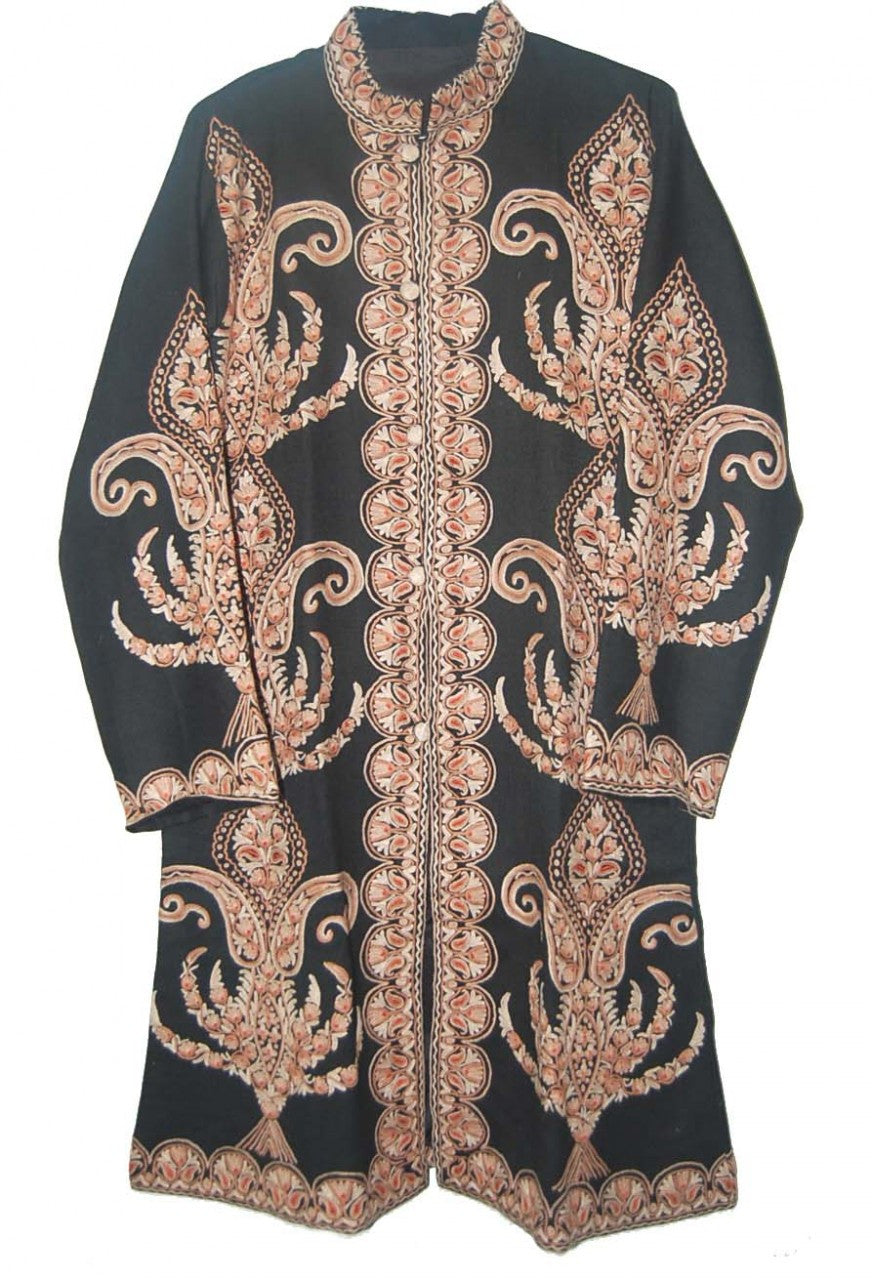Embroidered Woolen Coat Black, Brown Embroidery #AO-1141