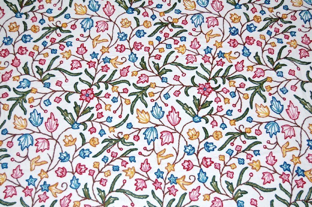 Cotton Crewel Embroidered Bedspread Off-White, Multicolor #PNJ1106