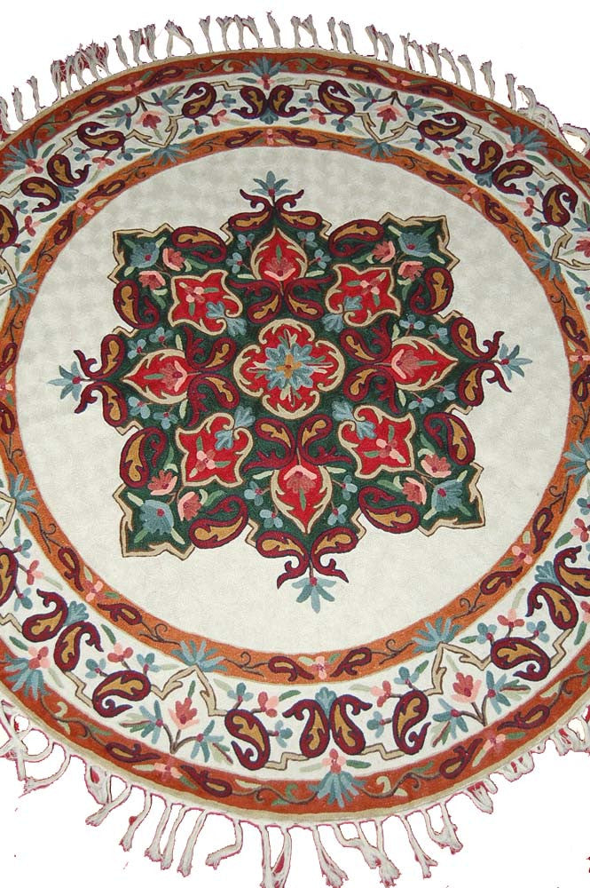 Kashmir Chain Stitch Rug,  Multicolor Wool 4 ft Round #CWR16101