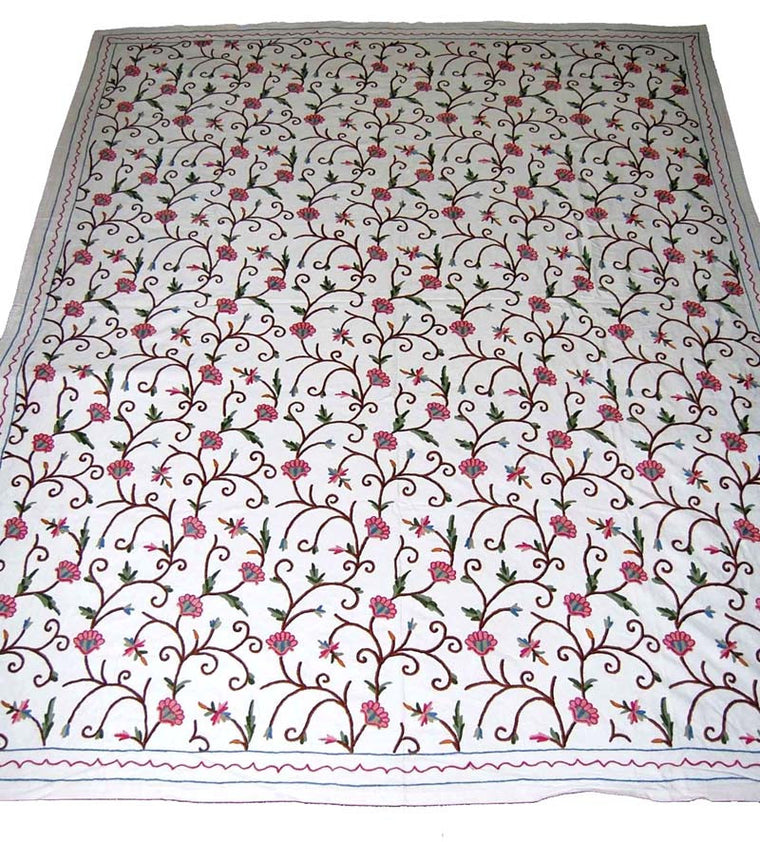Cotton Crewel Embroidered Bedspread Off-White, Multicolor #FLR1103