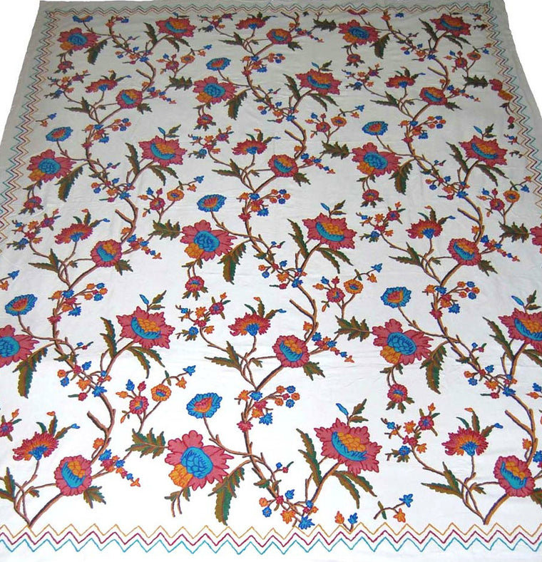 Cotton Crewel Embroidered Bedspread Off-White, Multicolor #FLR1102