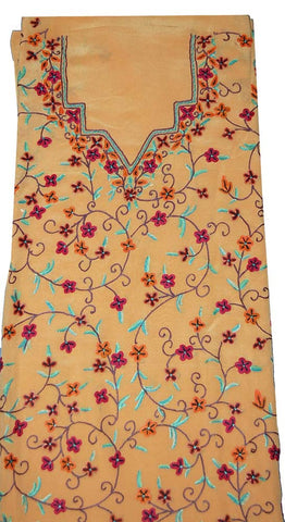 Crepe Silk Salwar Kameez Fabric Apricot, Multicolor Embroidery #FS-914