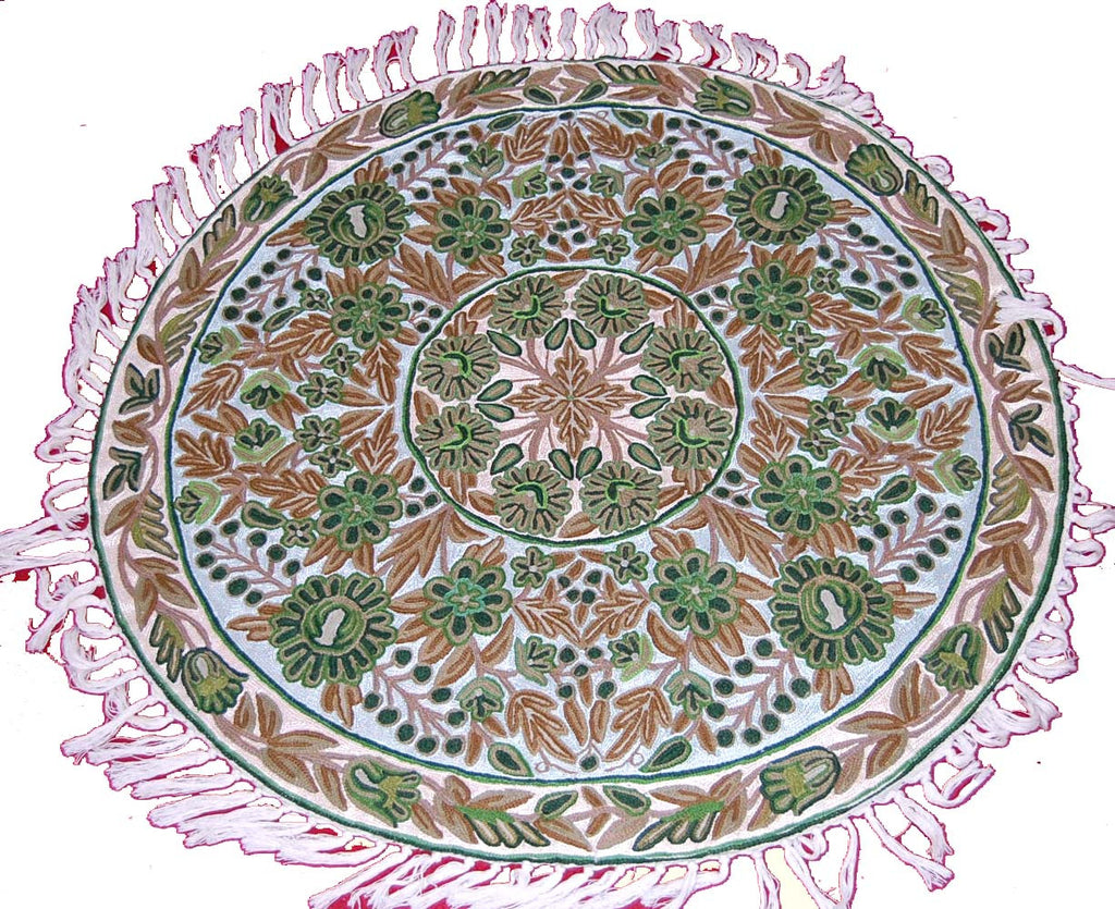 ChainStitch Tapestry Woolen Rug,  Multicolor Embroidery 3 feet Round #CWR9201