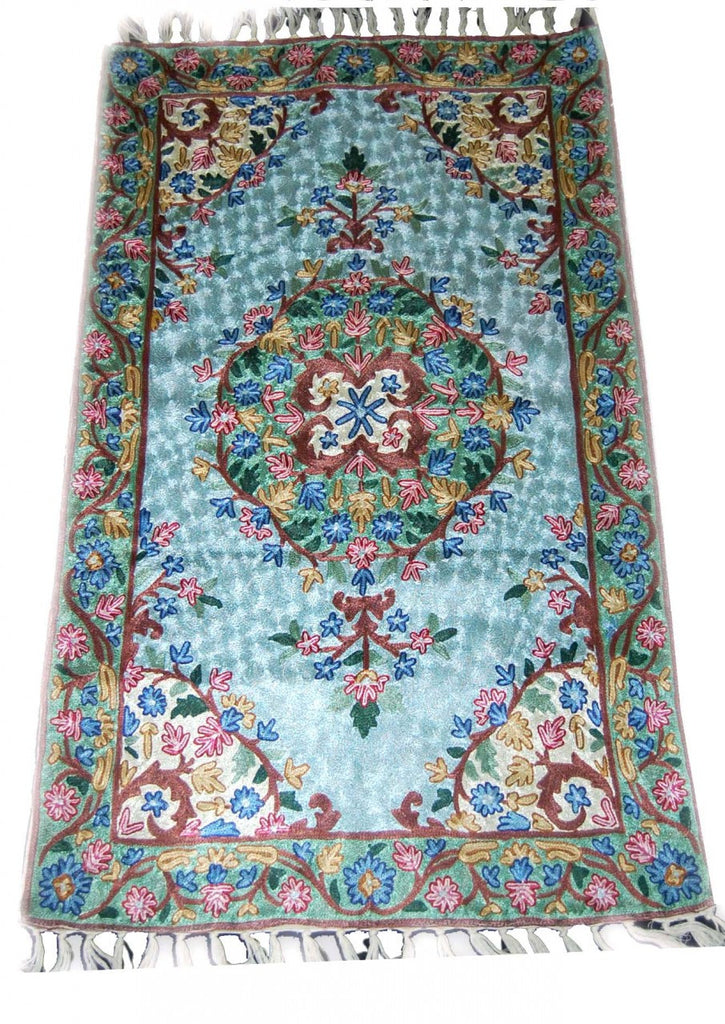 Kashmir Chain Stitch Silk Rug, Multicolor Embroidered 2.5x4 feet #CWR10102
