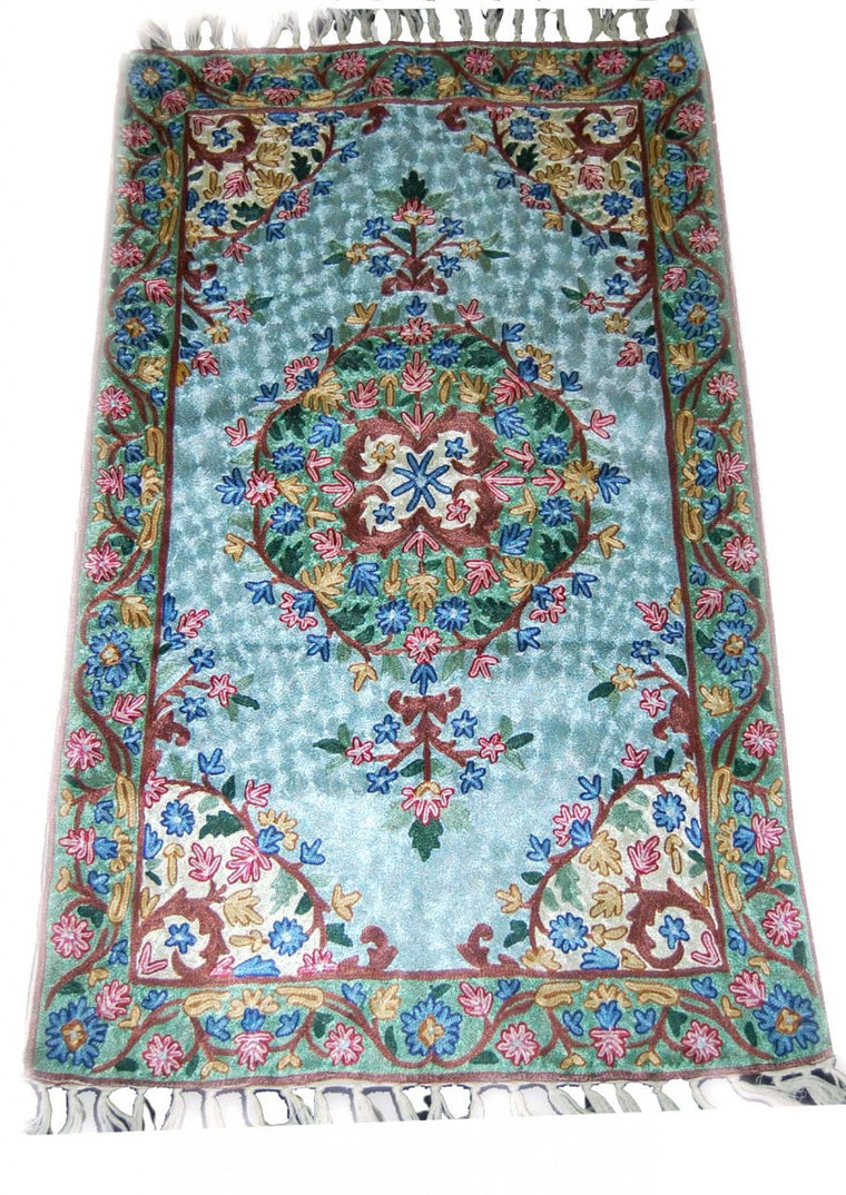 ChainStitch Tapestry Silk Rug, Multicolor Embroidery 2.5x4 feet #CWR10102