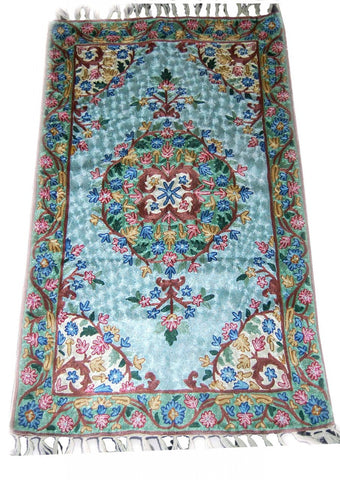 Chain Stitch Embroidered Silk Rug, Multicolor Embroidery 2.5x4 feet #CWR10102