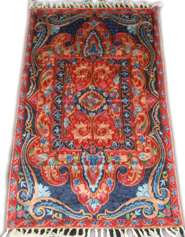 ChainStitch Tapestry Silk Rug, Multicolor Embroidery 2.5x4 feet #CWR10103