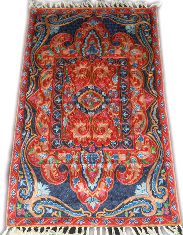 Chain Stitch Embroidered Silk Rug, Multicolor Embroidery 2.5x4 feet #CWR10103