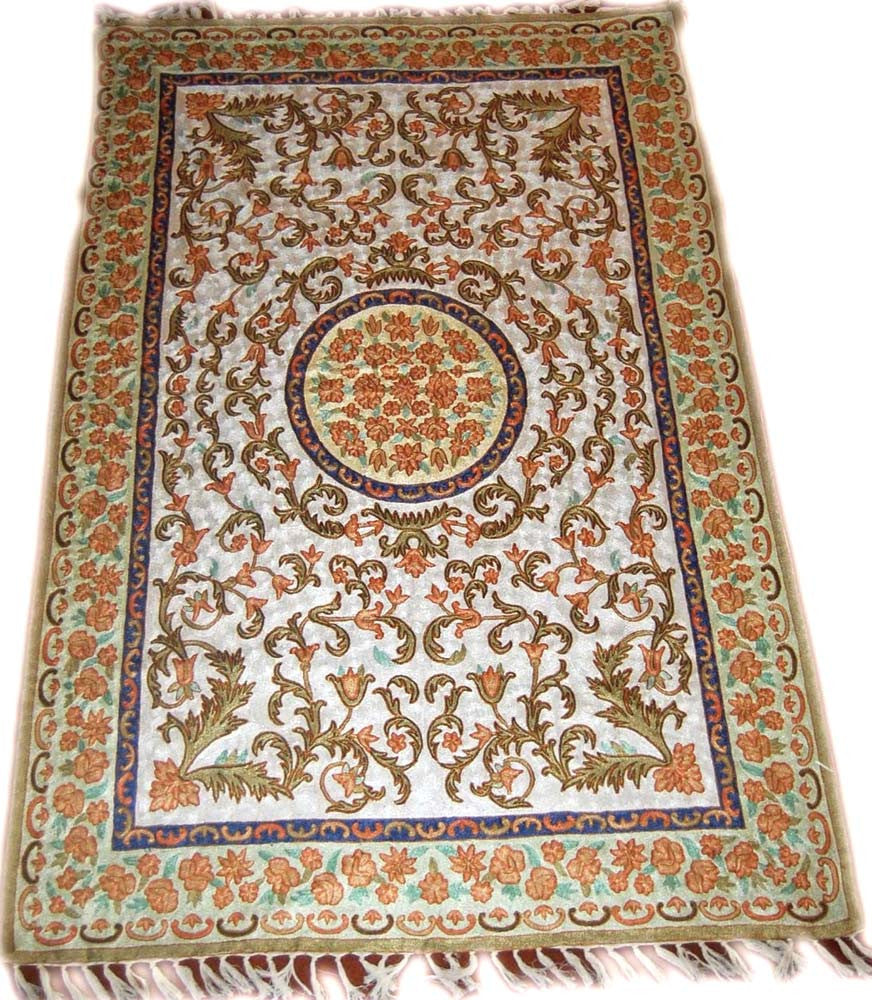 Kashmir Chain Stitch Rug Silk, Multicolor Embroidered 6x4 feet #CWR24201