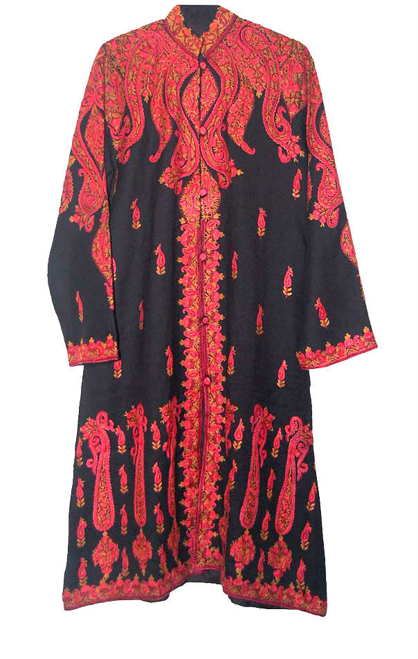 Embroidered Woolen Coat Black Sherwani in Multicolor Embroidery #SH-104