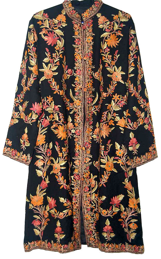 Embroidered Woolen Coat Black, Multicolor Embroidery #AO-131