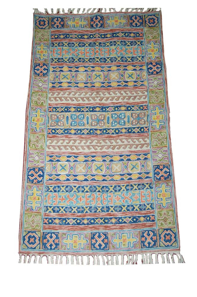 ChainStitch Tapestry Woolen Rug, Multicolor Embroidery 2.5x4 feet #CWR10105