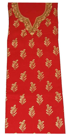 Crepe Wool Salwar Kameez Fabric Red, Multicolor Embroidery #FS-916