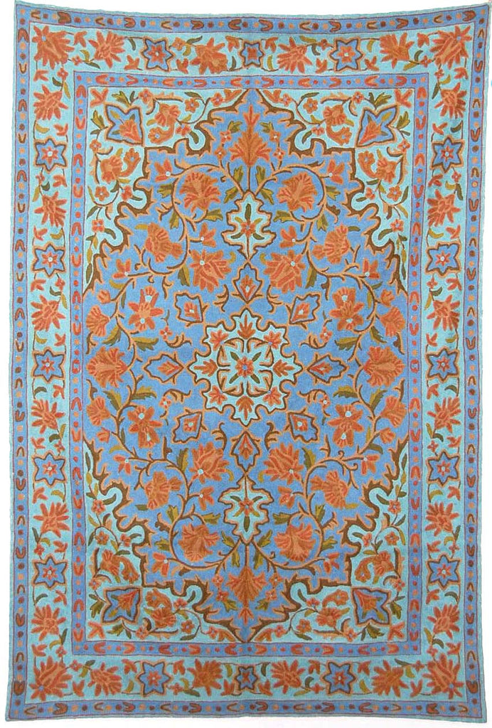 ChainStitch Tapestry Woolen Rug, Multicolor Embroidery 6x4 feet #CWR24104