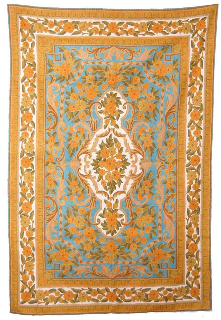 ChainStitch Tapestry Woolen Rug, Multicolor Embroidery 6x4 feet #CWR24106