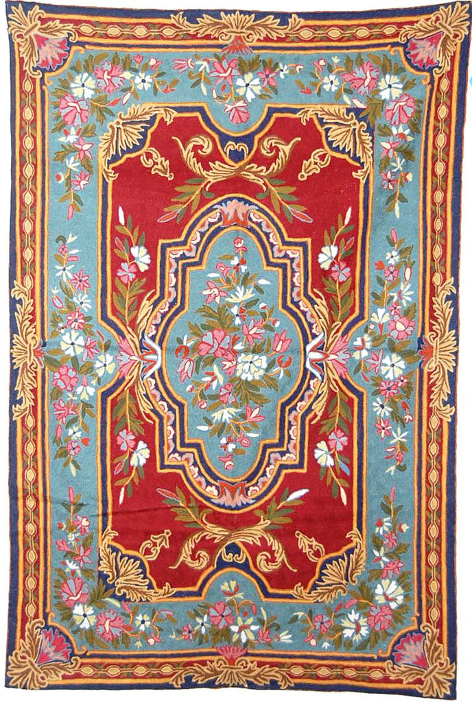 ChainStitch Tapestry Woolen Rug, Multicolor Embroidery 6x4 feet #CWR24109