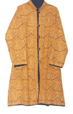 "Embroidered Woolen ""Jamawar"" Coat Black, Yellow Embroidery #JM-102"