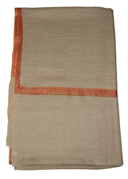 Kashmir Pashmina Cashmere Embroidered Shawl Beige, Multicolor #PDR-002