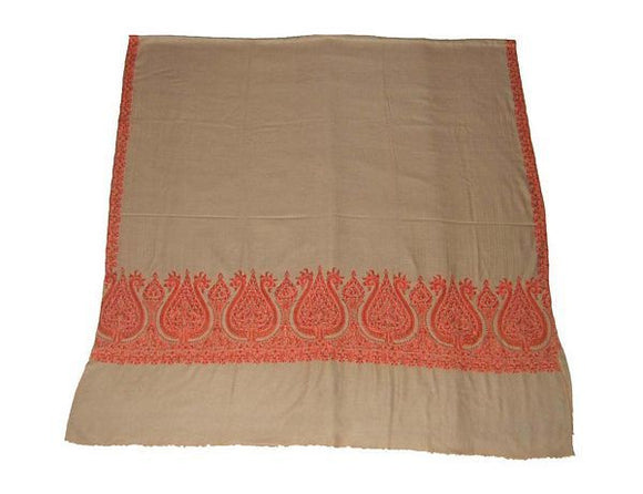 Kashmir Pashmina Cashmere Embroidered Shawl Beige, Multicolor #PDR-011