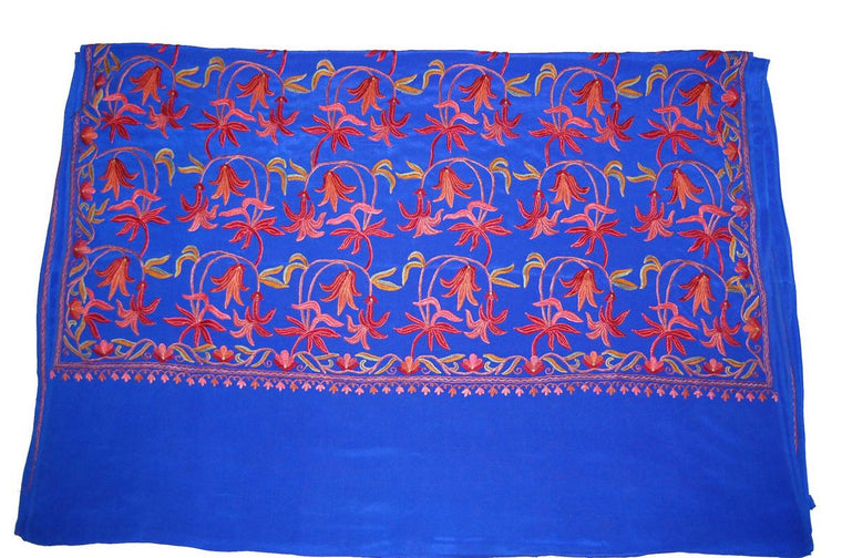 Kashmir Silk Sari Saree Blue, Multicolor Embroidery #SA-101
