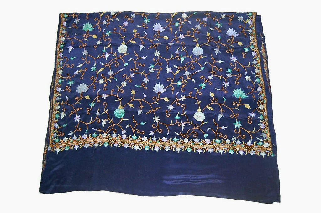 Silk Saree Navy Blue Multicolor Embroidery #SA-104