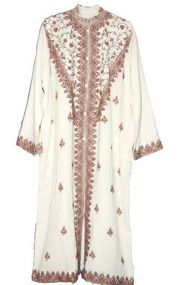 Embroidered Woolen Coat White, Brown Embroidery #SH-201