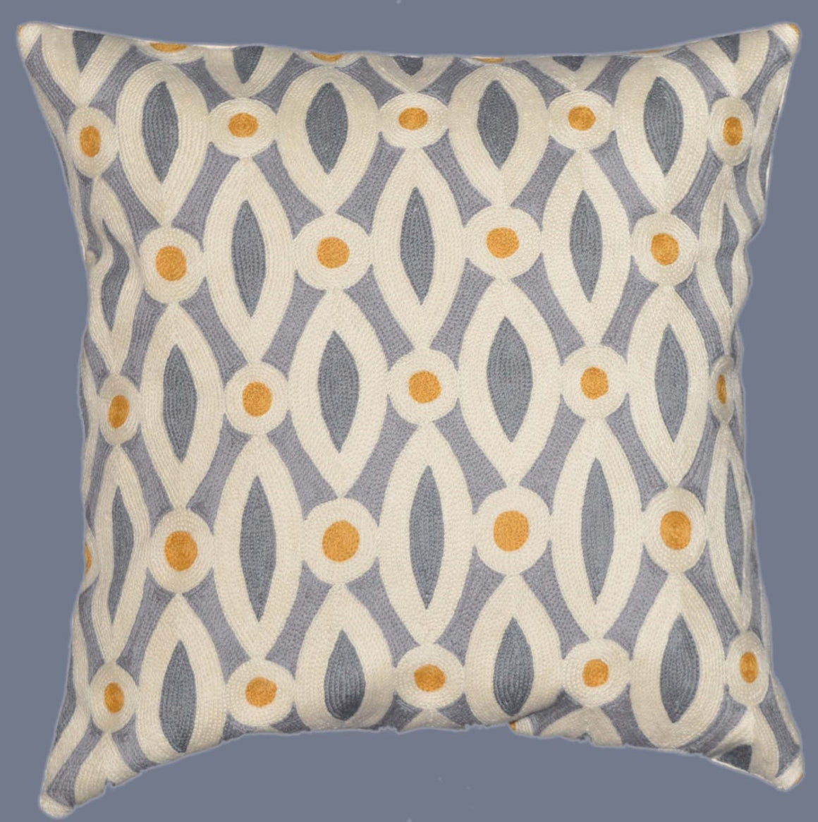 Crewel Chain Stitch Pillow Cushion Cover, Multicolor #CW-1101