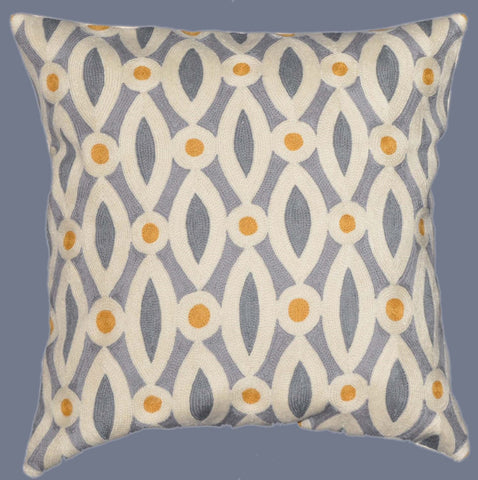 "Crewel Chain Stitch Embroidered Cushion Cover, Multicolor 20"" #CW-1101"