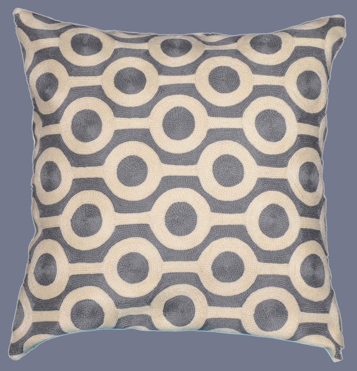 Crewel Chain Stitch Pillow Cushion Cover, Grey and White #CW-1102