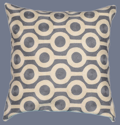 "Crewel Chain Stitch Embroidered Cushion Cover, Grey and White 20"" #CW-1102"