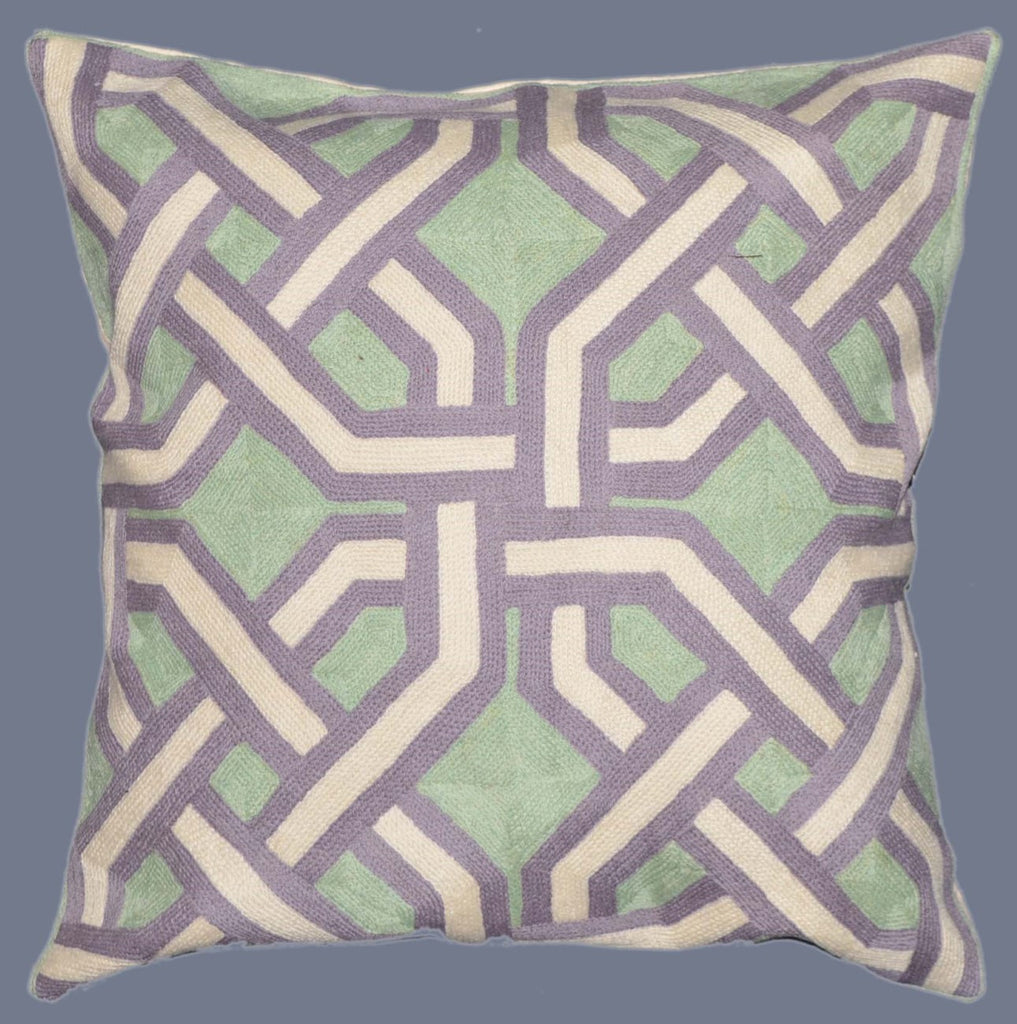 Crewel Wool Embroidered Cushion Pillow Cover, Green and Purple #CW-1103