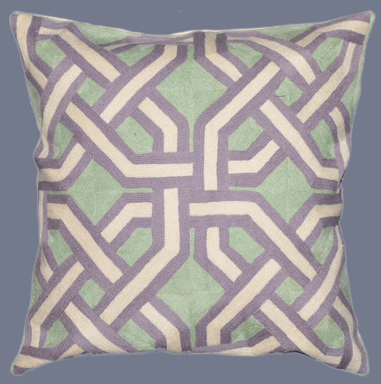 Crewel Chain Stitch Pillow Cushion Cover, Multicolor #CW-1103