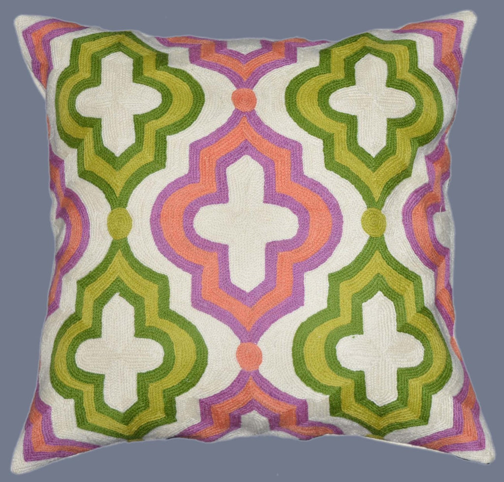 "Crewel Chain Stitch Embroidered Cushion Cover, Multicolor 20"" #CW-1104"