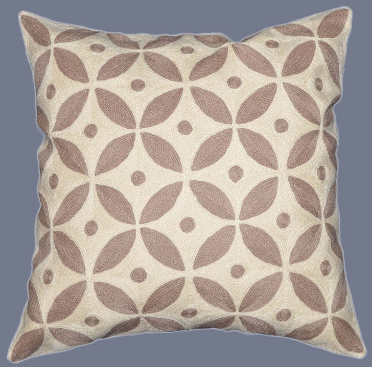Crewel Chain Stitch Pillow Cushion Cover, Beige and White #CW-1105