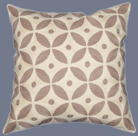 "Crewel Chain Stitch Embroidered Cushion Cover, Beige and White 20"" #CW-1105"