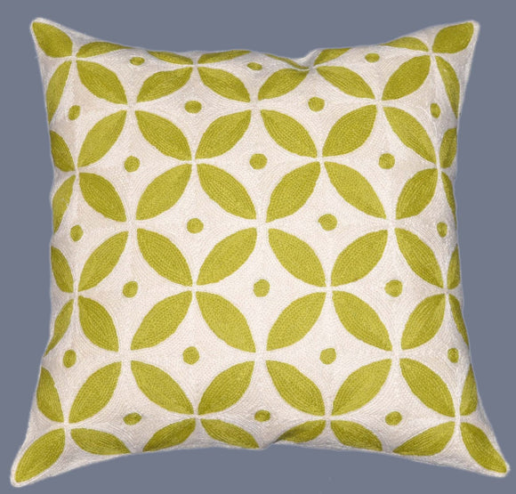 Crewel Chain Stitch Pillow Cushion Cover, Green and White #CW-1106
