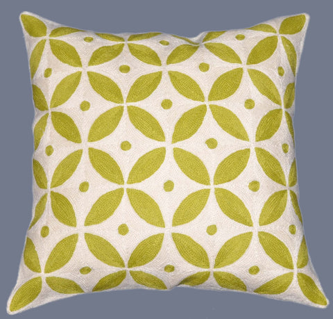 "Crewel Chain Stitch Embroidered Cushion Cover, Green and White 20"" #CW-1106"