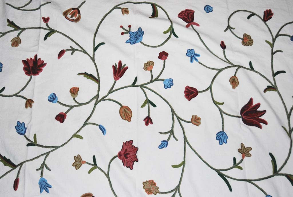 Cotton Crewel Embroidered Fabric, Multicolor #FLR202