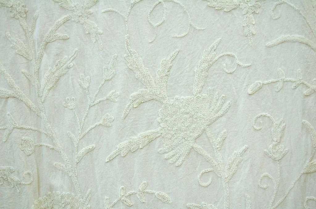 "Cotton Crewel Embroidered Fabric ""Tree of Life"" White on White #DDR021"