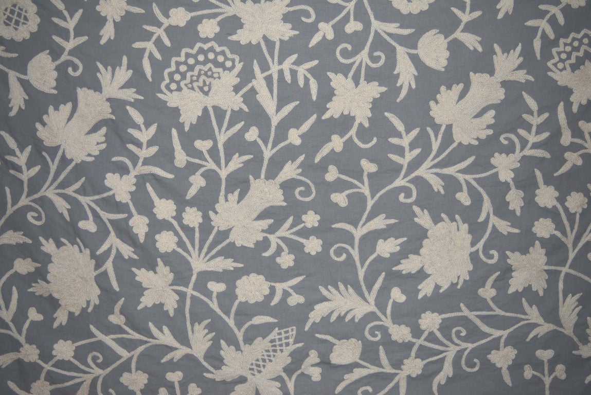Cotton Crewel Embroidered Fabric Floral, White on Grey #FLR421