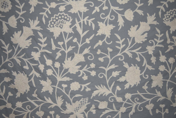Cotton Crewel Embroidered Fabric Floral White On Grey