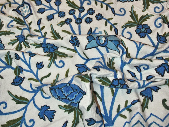 "Cotton Crewel Embroidered Bedspread ""Tree of Life"", Blue and Green #DDR1012"