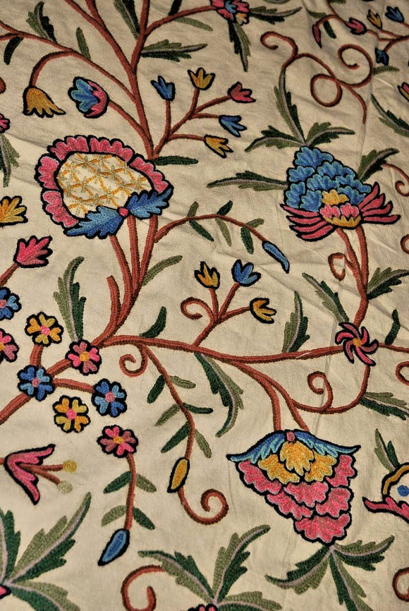 "Cotton Crewel Embroidered Bedspread ""Tree of Life"" Beige, Multicolor #DDR1103"