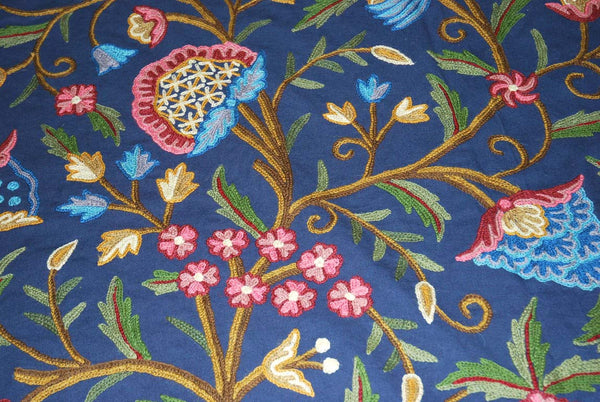 "Cotton Crewel Embroidered Bedspread ""Tree of Life"" Navy Blue, Multicolor #DDR1204"
