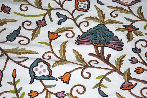 "Cotton Crewel Embroidered Bedspread ""Tree of Life"" Off-White, Multicolor #DDR1206"