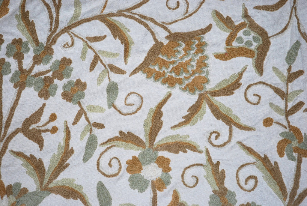 "Cotton Crewel Embroidered Bedspread ""Tree of Life"" Off-White, Multicolor #DDR1330"