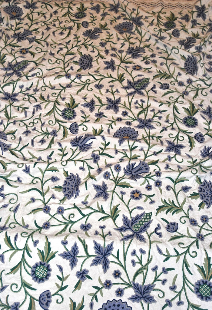 Cotton Crewel Embroidered Bedspread Off-White, Multicolor #FLR1021