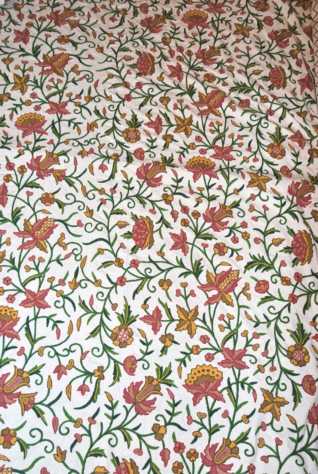 Cotton Crewel Embroidered Bedspread Off-White, Multicolor #FLR1104